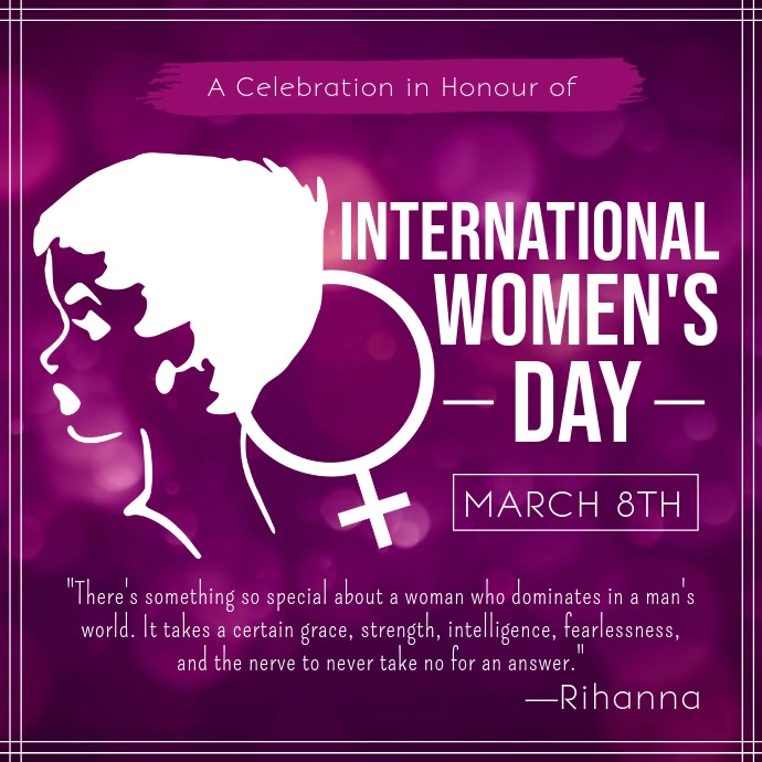 Purple International Womens Day Quote Square Video Template