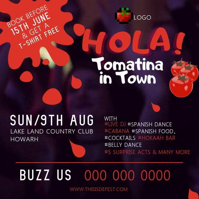Purple La Tomatina Square Video template