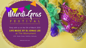 Purple Mardi Gras Event Invitation Banner Digital Display (16:9) template