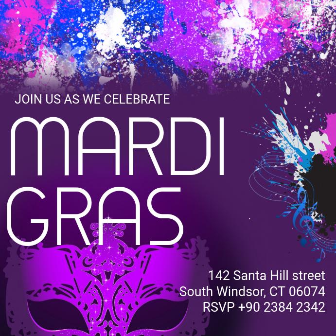 purple mardi gras masquerade party template postermywall