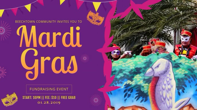 Purple Mardi Gras Parade Invitation Display Ecrã digital (16:9) template