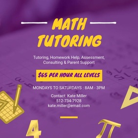 Purple Math Tutor Instagram Ad
