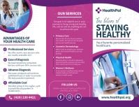 Purple Medical Trifold Brochure Pamflet (Letter AS) template