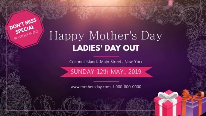 Purple Mother's Day Event Facebook Cover Video