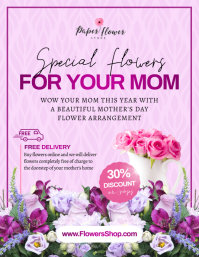 Purple Mother's Day Flower Retail Flyer Volantino (US Letter) template