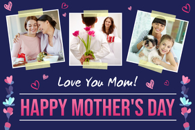 Purple Mother's Day Wish Collage Poster template