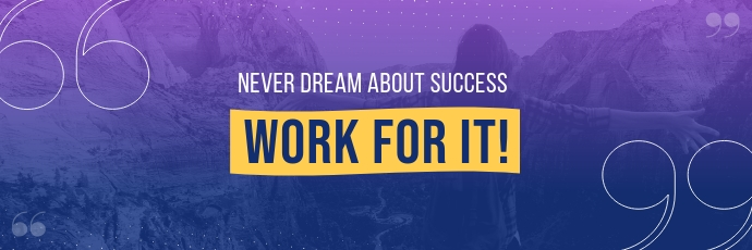 Purple Motivational Twitter Header Twitter-header template