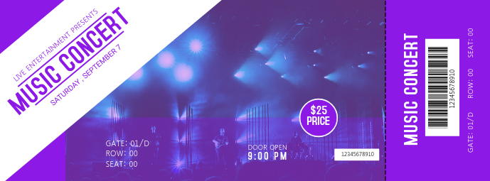 Purple Music Event Ticket Template Facebook 封面图片