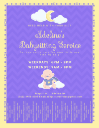 Purple Neighbourhood Babysitter Service Flyer Volante (Carta US) template
