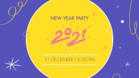 Purple New Year Party Invitation Facebook Cov template