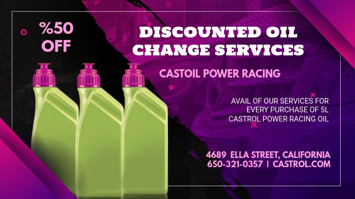 Purple Oil Change Service Display Ad