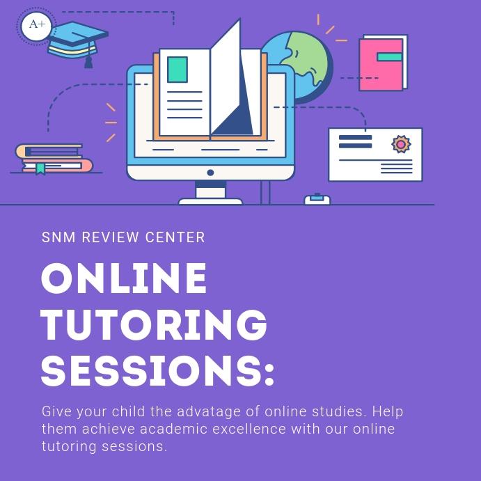 Purple Online Tuition class Advert Instagram Plasing template