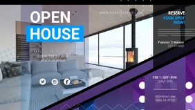 Purple Open House Digital Signage Ad Facebook Cover Video (16:9) template