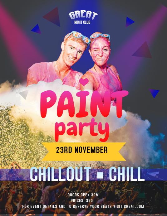 Purple Paint Party Flyer template