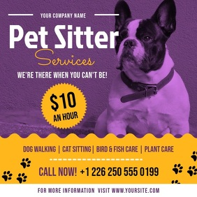 Purple Pet Sitter Services Ad Square Video Vierkant (1:1) template