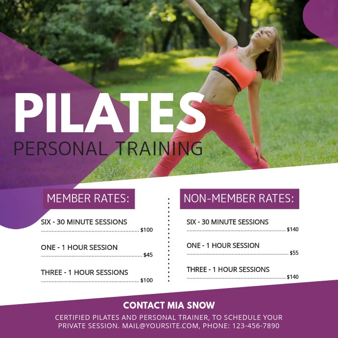 Purple Pilates Class Ad Square Video