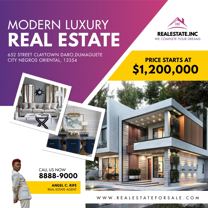 Purple Pink Modern Real Estate Review Instagr Cuadrado (1:1) template