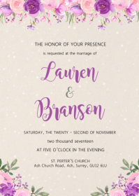 Purple pink wedding bridal theme invitation