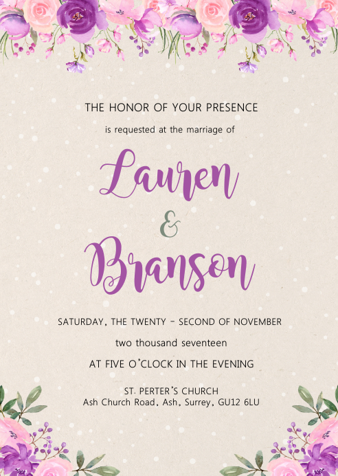 Purple pink wedding bridal theme invitation