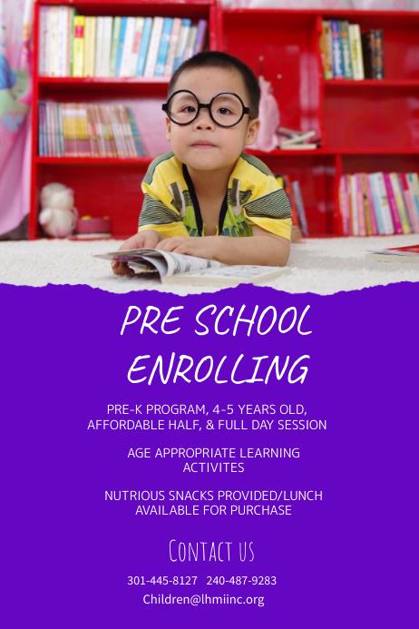Purple Preschool Enrollment Poster Template