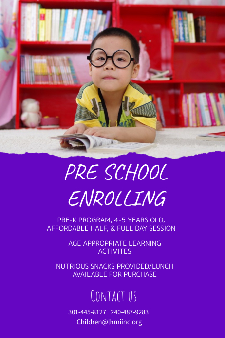 Purple Preschool Enrollment Poster Template