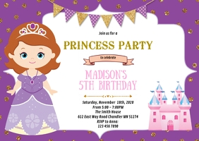 Purple princess birthday party invitation