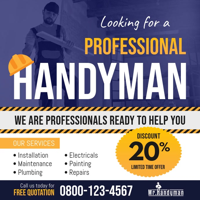 Purple Professional Handyman Services Ad Squa