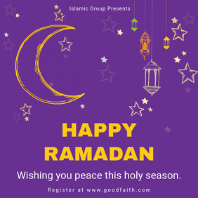 Purple Ramadan Wish and Greeting Template