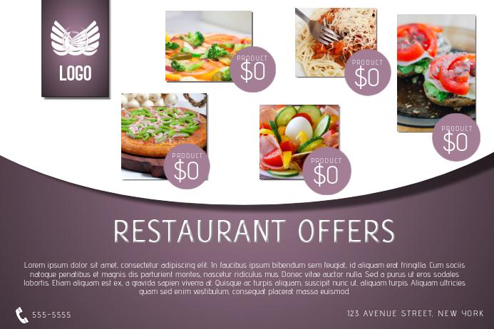 purple resaurant food menu sale offer landscape