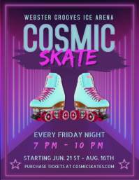 Purple Retro 50's Roller Skating Flyer Templa template