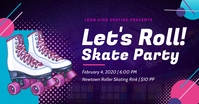 Purple roller skate party facebook post template