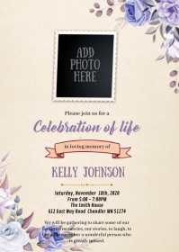 Purple rose funeral theme invitation A6 template
