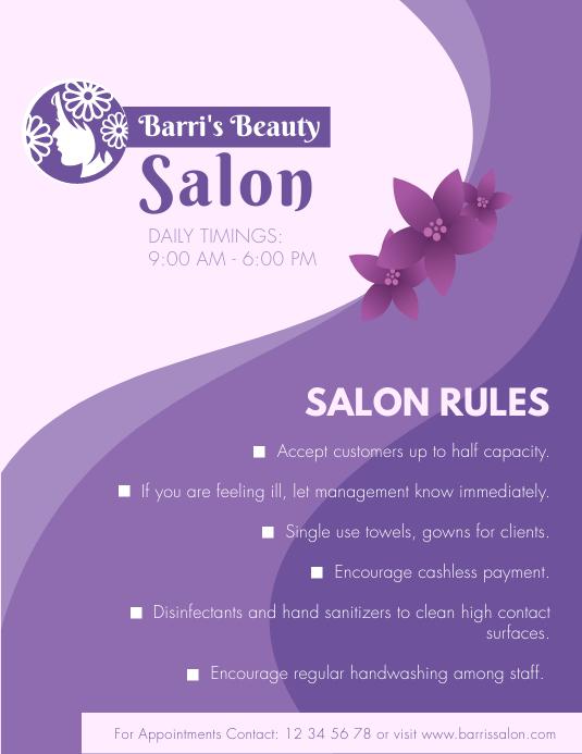 Purple Salon SOP Guidelines Flyer