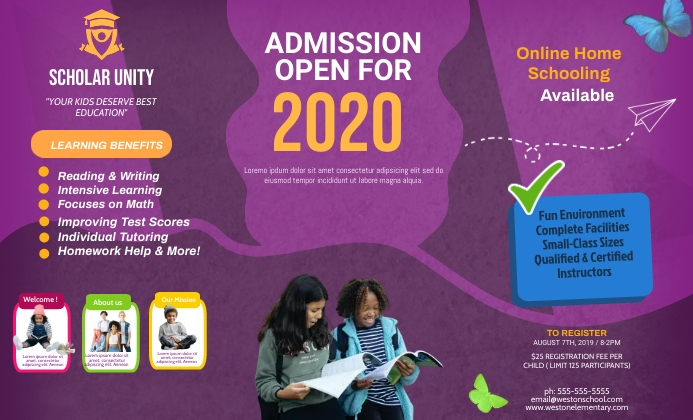 Purple School Admission Custom Brochure Desig template