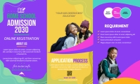 Purple School Admission Poster Brochure Templ
