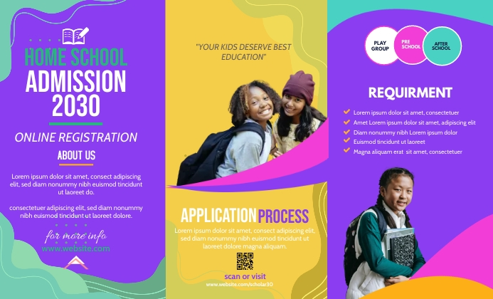 Purple School Admission Poster Brochure Templ Legal AS template