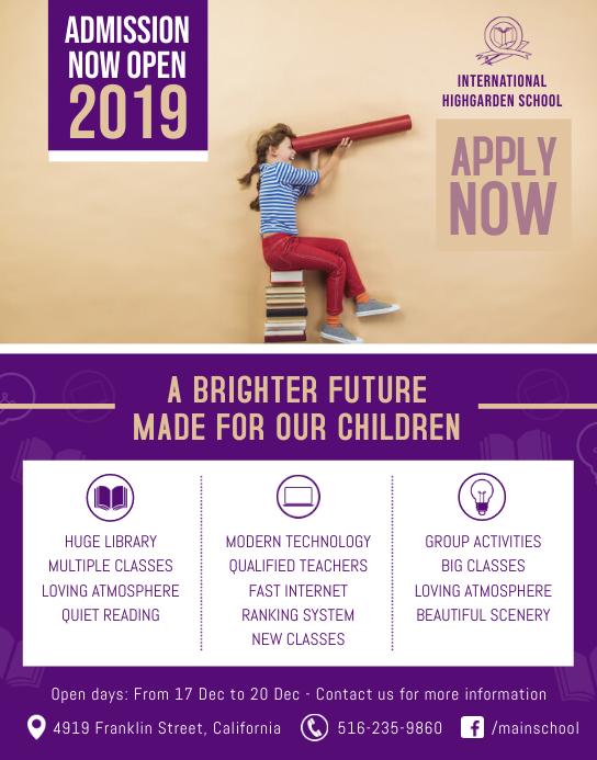 Purple School Admission Poster
