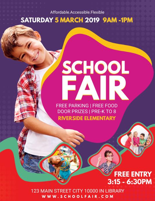 Purple School Fair Invitation Flyer