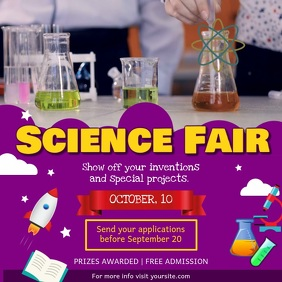 Purple Science Fair School Square Video