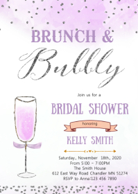 Purple silver Brunch and bubbly invitation