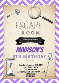 Purple silver escape room birthday invitation