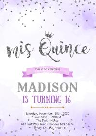 Purple silver mis quince confetti invitation