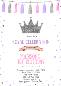 Purple silver princess birthday invitation