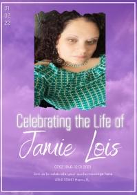 Purple Sky Celebration of Life Invitation Pho A5 template