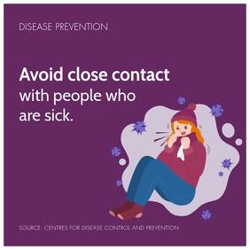 Purple Social Distancing Coronavirus Social M
