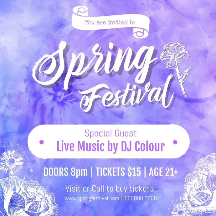 Purple Spring Festival Square Video