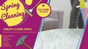 Purple Spring Home Cleaning Banner