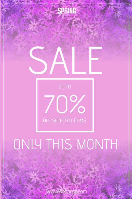 purple spring sale poster template