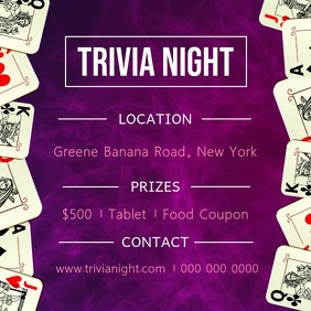 Purple Trivia Night Square Video