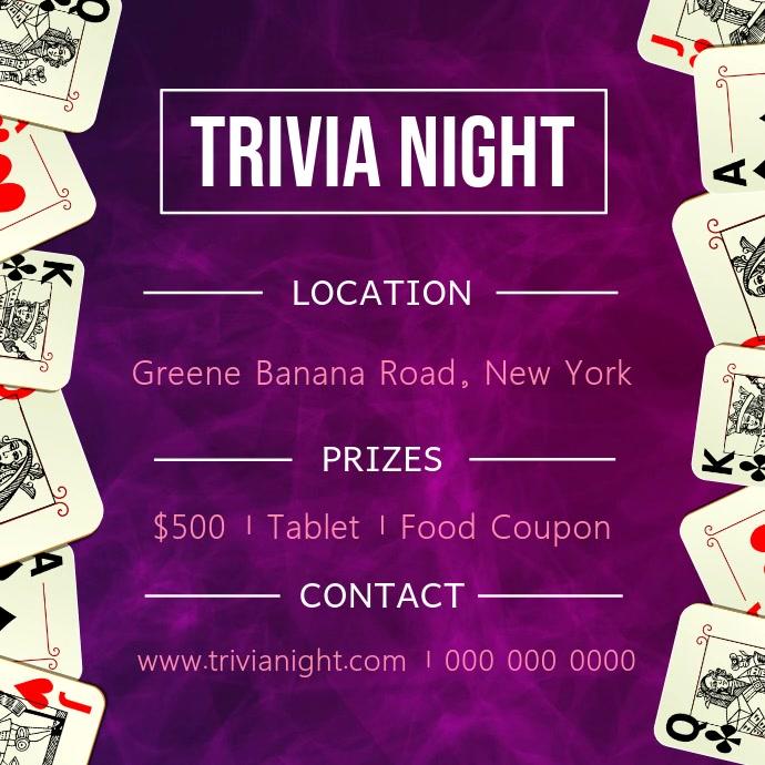 Purple Trivia Night Square Video Kwadrat (1:1) template